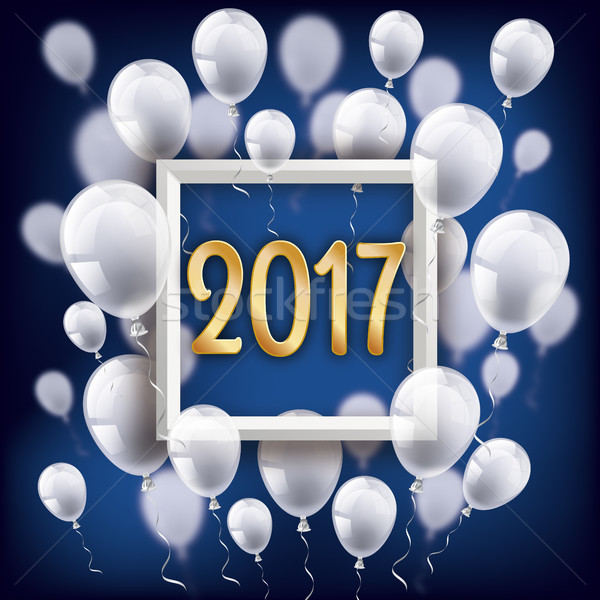 Golden 2017 Frame Silvester Night White Balloons Stock photo © limbi007