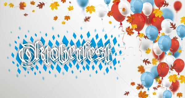 Mavi kırmızı balonlar oktoberfest yeşillik Stok fotoğraf © limbi007