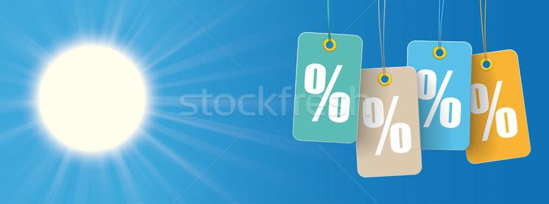 Photo stock: Soleil · prix · autocollants · pour · cent · tête · ciel · bleu