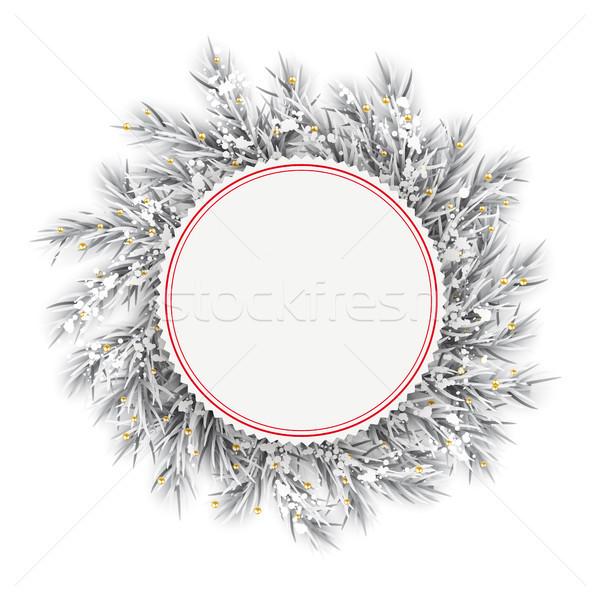 Frozen Twigs Red Emblem Snow Golden Deco Stock photo © limbi007