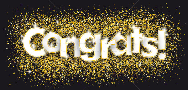 Congrats Golden Confetti Black Background Stock photo © limbi007