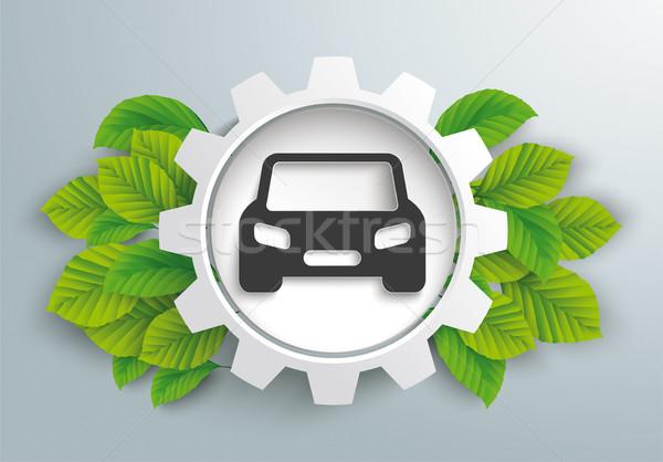 White Gear Wheel Green Leaves Eco Car Stock photo © limbi007
