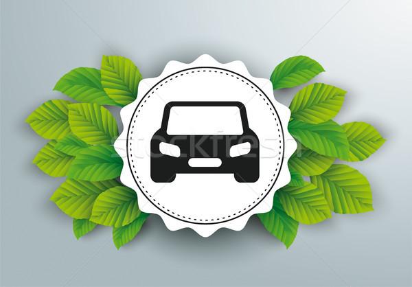 White Paper Emblem Green Leaves Car Stock photo © limbi007