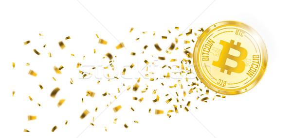 Bitcoin Golden Confetti Stardust Header Stock photo © limbi007