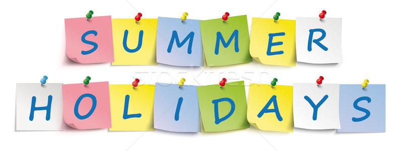 Nyár ünnepek színes fejléc matricák szöveg Stock fotó © limbi007