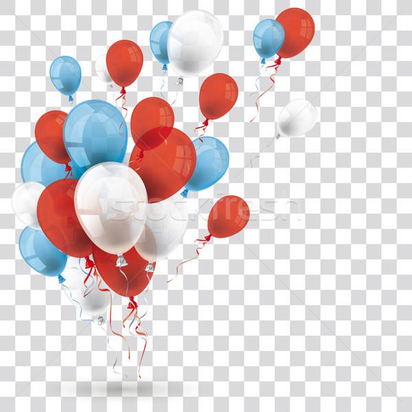 Bleu rouge blanche ballons ombre transparent Photo stock © limbi007
