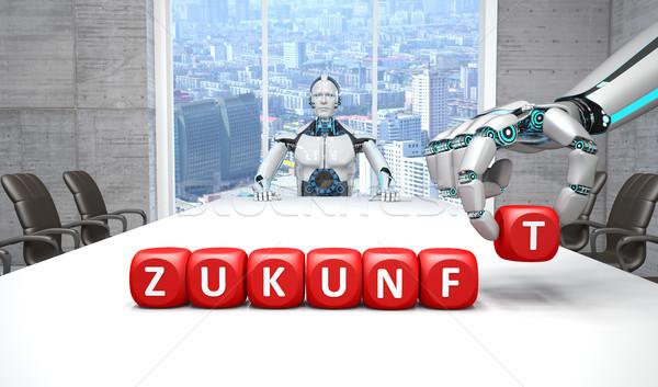 Robot Conference Room Hand Cubes Zukunft Stock photo © limbi007