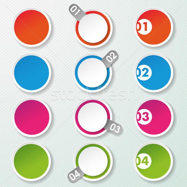 Dört seçenekleri kâğıt circles daire etiketler Stok fotoğraf © limbi007