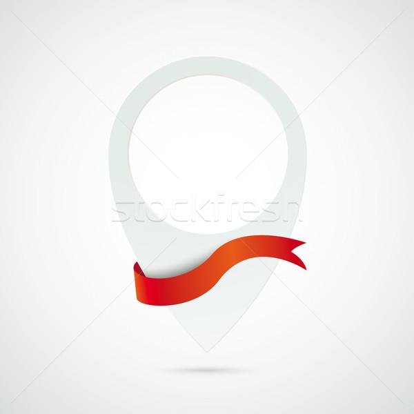 Beyaz konum işaretleyici kırmızı bayrak Stok fotoğraf © limbi007