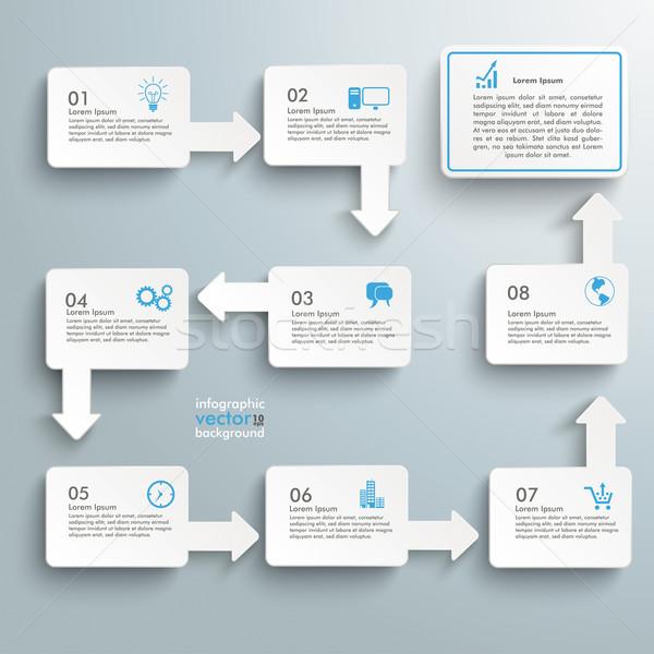 Téglalap folyamatábra lehetőségek infografika fehér szürke Stock fotó © limbi007