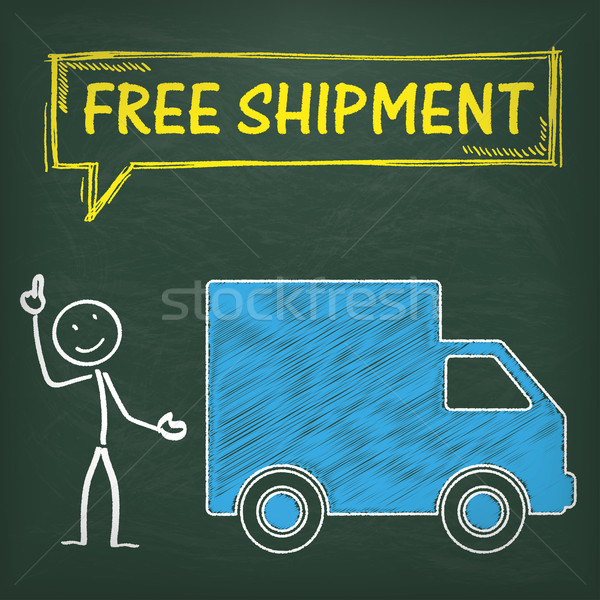 Blackboard Stickman Car Free Shipment Stock photo © limbi007