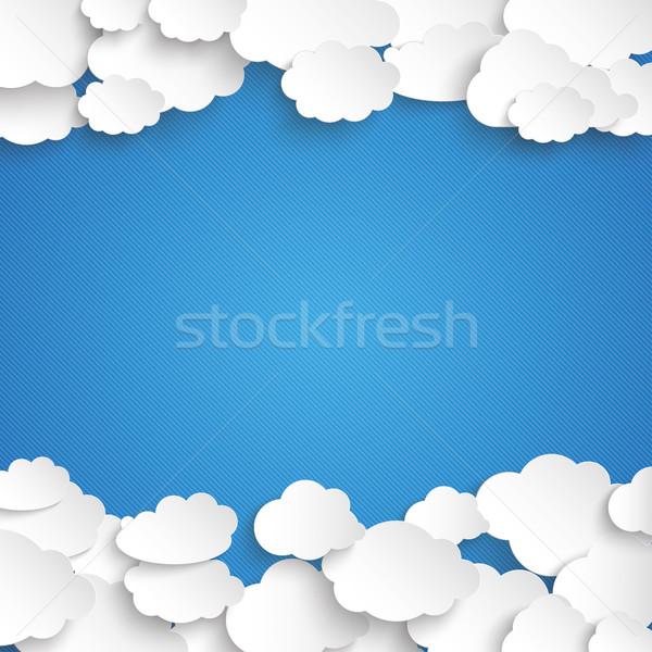 White Paper Clouds Centre Blue Sky Stock photo © limbi007