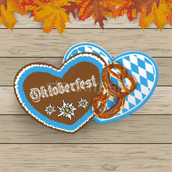 Bavarian Oktoberfest Hearts Foliage Wood Stock photo © limbi007