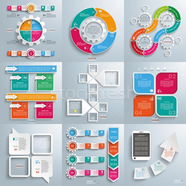 Set of 9 Infographic Designs Stock photo © limbi007
