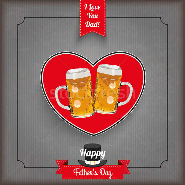 Klasszikus szalag szív sör nap borító Stock fotó © limbi007