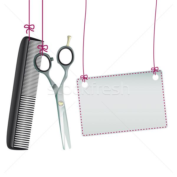 Hanging Scissors Comb Rectangle Banner Stock photo © limbi007