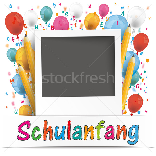 Banner Balloons Letters Photo Schulanfang Stock photo © limbi007