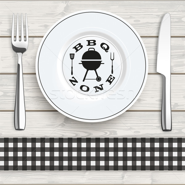 Wood Black Checked Cloth Knife Fork Plate BBQ Zone Stock photo © limbi007