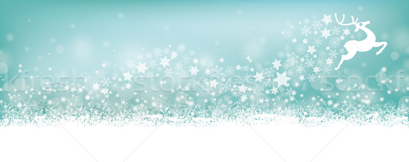 Cyan Christmas Card Header Snowflakes Reindeer Stardust Stock photo © limbi007