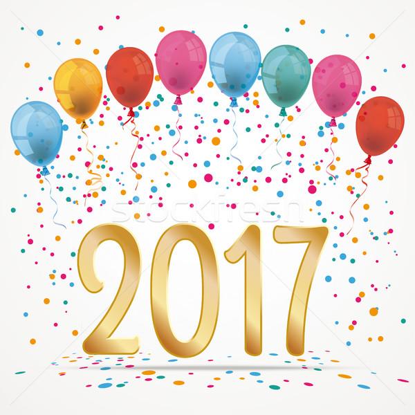 Balloons Confetti 2017 Stock photo © limbi007