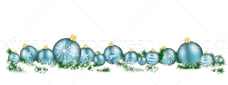 Christmas Cyan Baubles White Headline Snow Banner Stock photo © limbi007