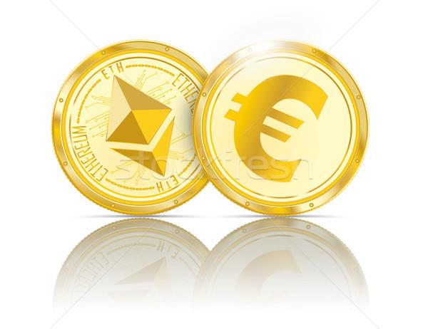 Golden Coins Ethereum Euro Mirror Stock photo © limbi007