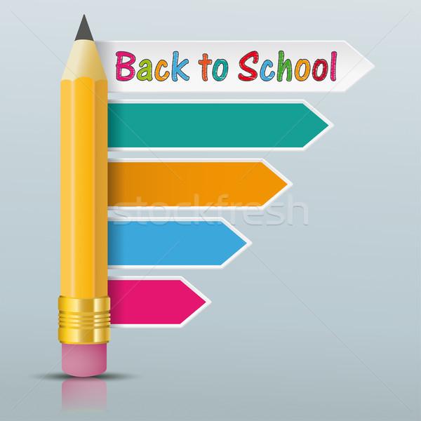 Lápis instruções de volta à escola espelho Foto stock © limbi007