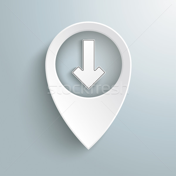 Stock photo: White Location Marker Download Arrow