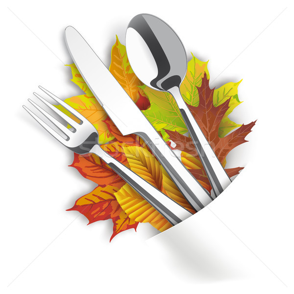 White Convert Napkin Fork Knife Spoon Autumn Foliage Stock photo © limbi007