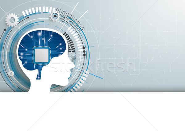 人間 頭 マイクロチップ 脳 開発 ヘッダ ストックフォト © limbi007