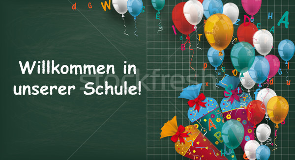 Blackboard Balloons Candy Cones Willkommen Schule Stock photo © limbi007