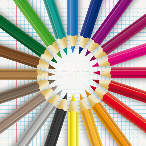 Colored Pencils Circle Checked Paper Stock photo © limbi007