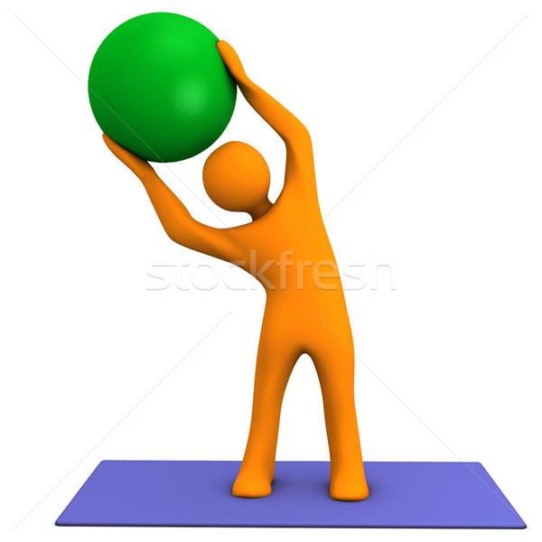 Sport gyógyszer labda narancs rajzfilmfigura kék Stock fotó © limbi007