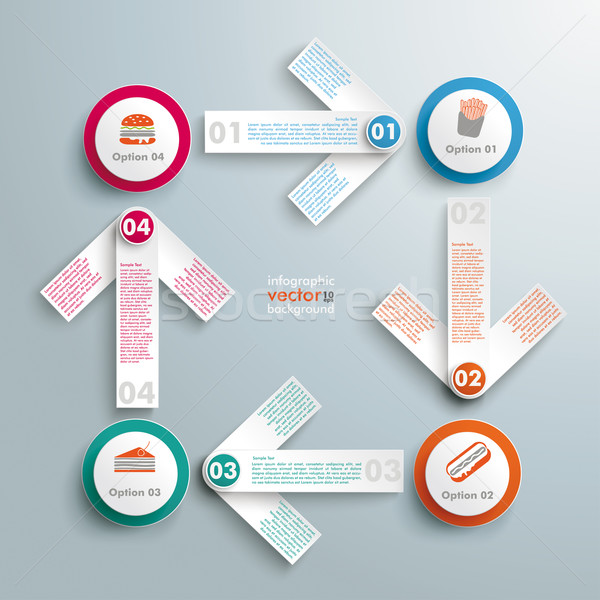 Bianco frecce grassi alimentare infografica design Foto d'archivio © limbi007