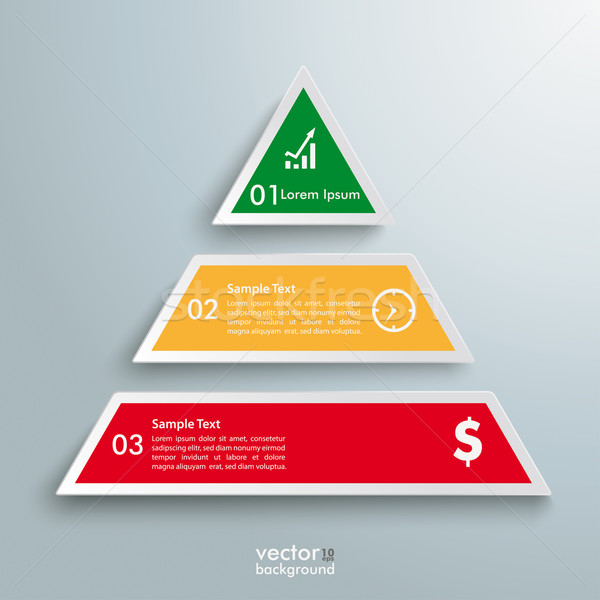 Stock photo: Colored Pyramid 3 Pieces Infographic