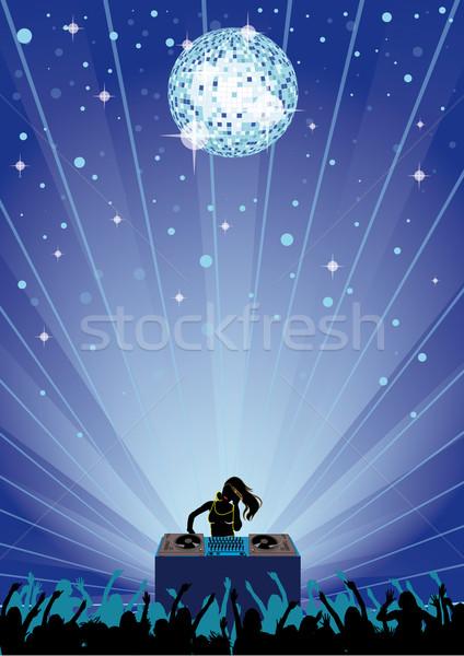 Blue Disco Party Flyer Stock photo © limbi007