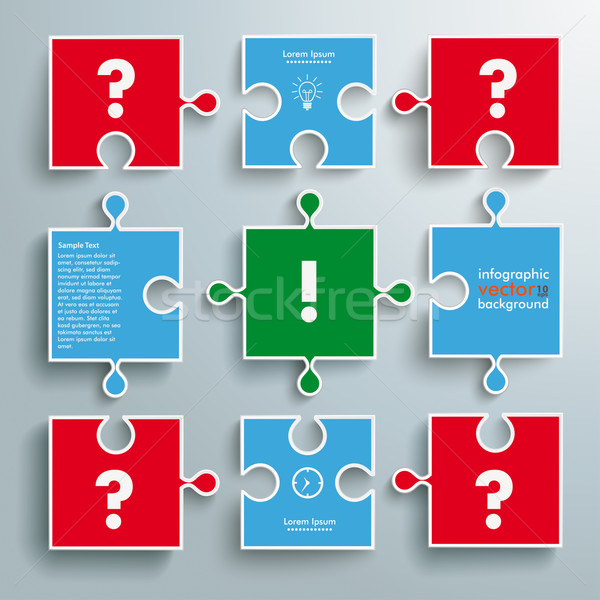 Colored Paper Puzzles Question Answer Stock photo © limbi007