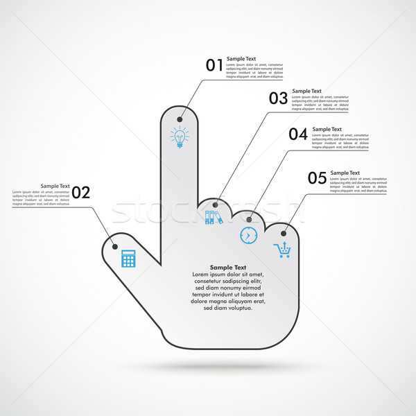 Kattintás kéz kurzor infografika fehér eps Stock fotó © limbi007