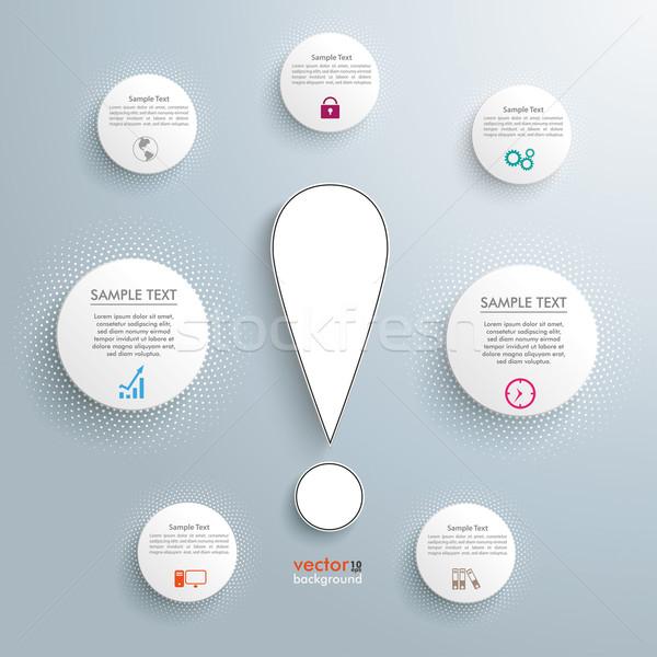 サークル インフォグラフィック 白 感嘆符 グレー ストックフォト © limbi007