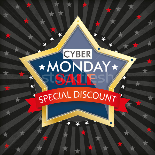 Cyber Monday Stripes Golden Star Stock photo © limbi007