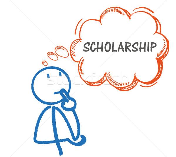 мышления стипендия мысли пузырь текста белый прибыль на акцию Сток-фото © limbi007