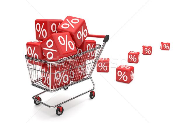 Bevásárlókocsi vásár kockák piros százalék fehér Stock fotó © limbi007