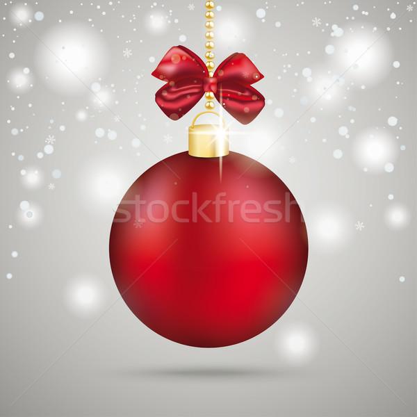 Kırmızı Noel önemsiz şey kar taneleri gri Stok fotoğraf © limbi007