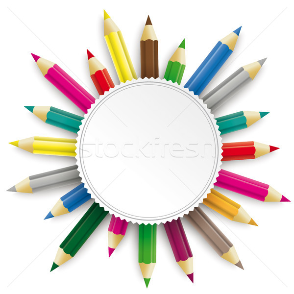 Colored Pencils Emblem Stock photo © limbi007