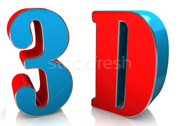 3d text in blue and red colors. Stock photo © limbi007