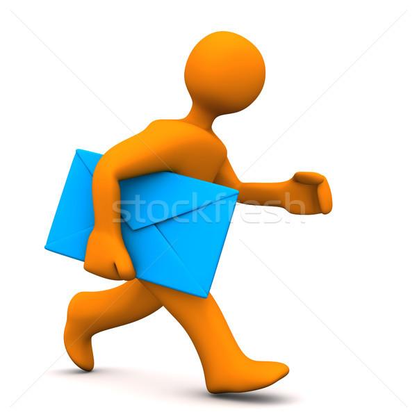 Expressz posta narancs rajzfilmfigura kék absztrakt Stock fotó © limbi007