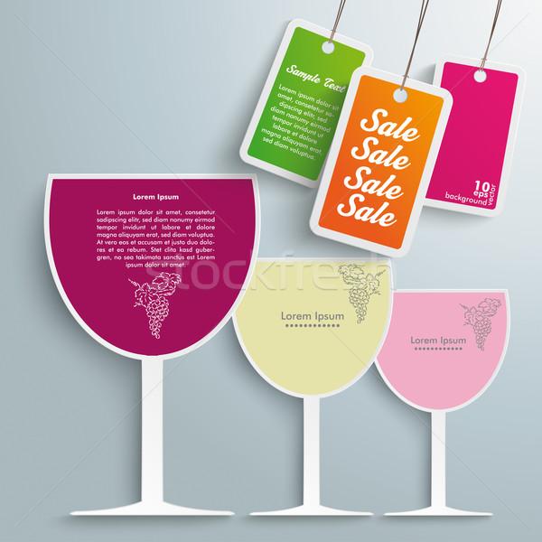 3 Colored Wineglasses Price Stickers Stock photo © limbi007