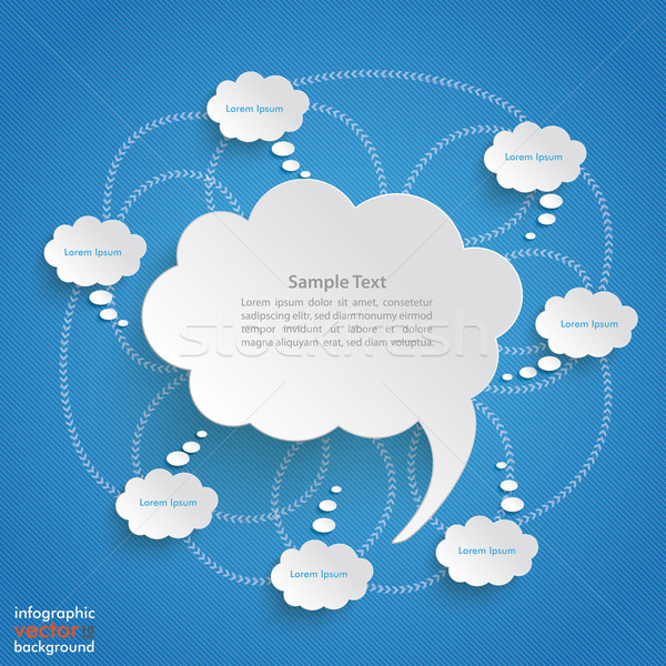 Speech And Thought Bubbles Blue Background Stock photo © limbi007