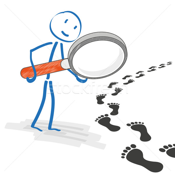 Stickmen Loupe Footprint Track Stock photo © limbi007