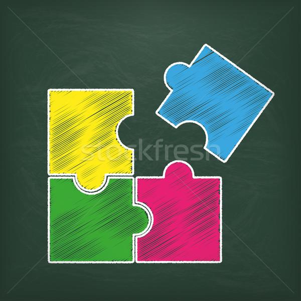 Tablicy prostokąt puzzle kolorowy eps 10 Zdjęcia stock © limbi007